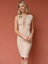 West Coast Wardrobe In The Moment Bodycon Lace Up Dress in Shell