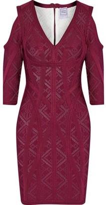 Herve Leger Josephine Cold-shoulder Pointelle-knit Bandage Mini Dress