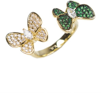 Cz By Kenneth Jay Lane 14K Gold Plated Double Butterfly Ring