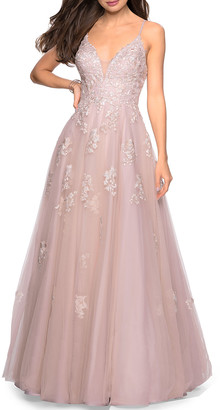 La Femme V-Neck Sleeveless Tulle Ball Gown with Sequin Applique