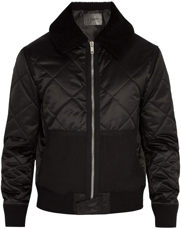 Givenchy Quilted shearling-collar bomber jacket