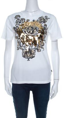 Just Cavalli White Cotton Jersey Sequin Paillette Embellished T-Shirt M
