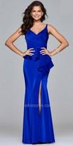 Faviana Faille Satin High Slit Peplum Evening Dress