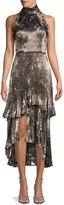 Flor Et. Al Metallic Floral-Printed Silk-Blend Dress