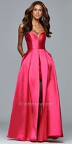 Faviana Strapless Split Front Mikado Prom Dress
