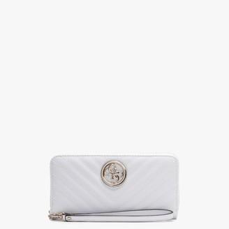 GUESS Blakely Zip Around White Wristlet Wallet