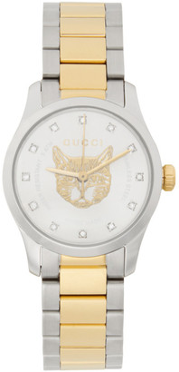 Gucci Gold and Silver G-Timeless Feline Watch