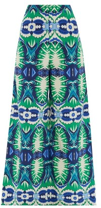 Le Sirenuse Le Sirenuse, Positano - Stephan Fish Tail-print Cotton Trousers - Womens - Green Print