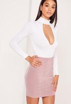 Missguided Textured Slinky Mini Skirt Pink