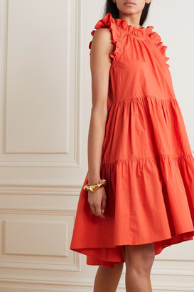 Ulla Johnson Tamsin Ruffled Tiered Cotton Dress - Coral