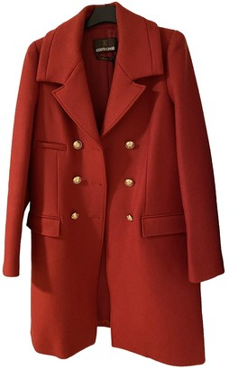 Roberto Cavalli Red Wool Coat for Women
