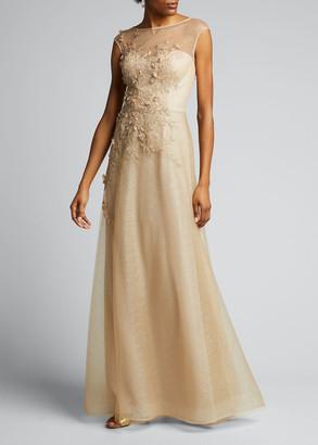 Rickie Freeman For Teri Jon Embellished Bateau-Neck Cap-Sleeve A-Line Gown