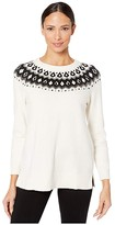 Vince Camuto Long Sleeve Embellished Yoke Jacquard Sweater (Antique White) Women's Sweater