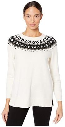 Vince Camuto Long Sleeve Embellished Yoke Jacquard Sweater
