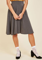 ModCloth Bugle Joy Midi Skirt in Grey in XS