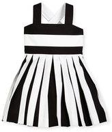 Helena Striped Pleated Cross-Back Sundress, Black/White, Size 7-12