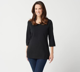 Denim & Co. Regular Jersey 3/4-Sleeve Tunic with Lace Trim