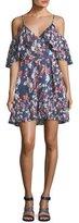 Tanya Taylor Amylia Floral-Ikat Silk Stripe Short Dress