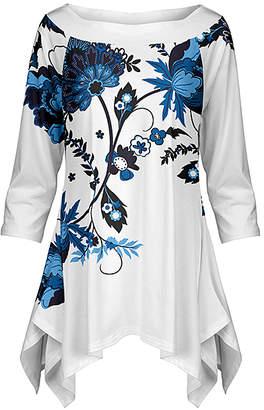 Lily Women's Tunics BLU - Blue & White Floral Handkerchief Tunic - Women & Plus