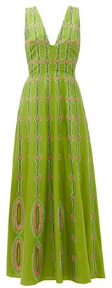Le Sirenuse, Positano - Nellie Bubble Gym-embroidered Cotton Maxi Dress - Green Multi