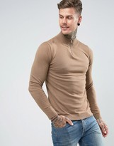 Asos Half Zip Cotton Jumper In Tan