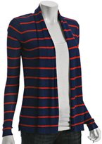 sapphire striped open front cardigan