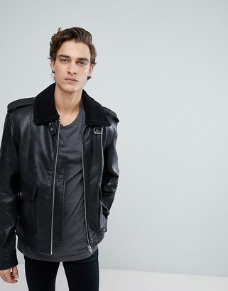 Black Dust Leather Jacket with Faux Fur Collar