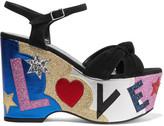 Saint Laurent Candy Embellished Suede And Leather Platform Sandals - Black