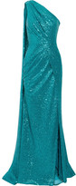 Elie Saab One-shoulder Cutout Sequined Tulle Gown - Teal