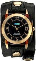 La Mer Women's Quartz Gold-Tone and Leather Watch, Color:Black (Model: LMACETATE007)