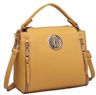 Miss Lulu Women Handbags Pu Leather Casual Travel Ladies Top Handle Crossbody Shoulder Messenger Bag (Yellow)