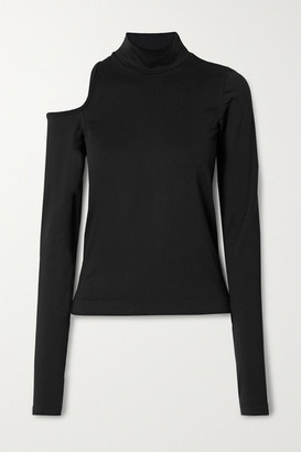 Helmut Lang Cutout Stretch-jersey Turtleneck Top - Black