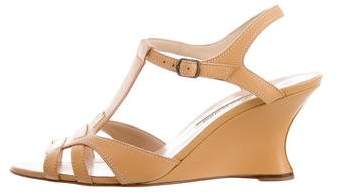 Manolo Blahnik T-Strap Leather Wedges