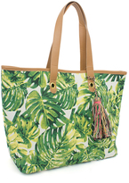Magid Green Floral Profusion Tassel-Detail Tote