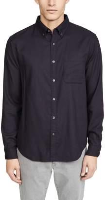 Club Monaco Solid Flannel Long Sleeve Shirt