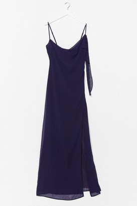 Nasty Gal Womens Right Bride Your Side Cowl Maxi Dress - Navy - 4