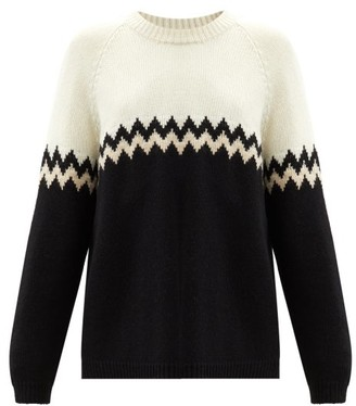 Sara Lanzi Zigzag Alpaca-blend Sweater - Black Cream