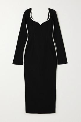 PARIS GEORGIA Fabienne Two-tone Crepe Midi Dress - Black