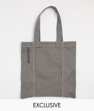 Collusion Unisex tote bag in grey