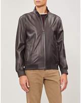 Corneliani Wool-trimmed leather bomber jacket