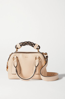 Chloé Daria Small Textured And Smooth Leather Tote - Beige