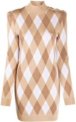 Balmain Diamond-Pattern Long-Sleeve Dress