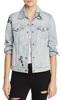 Olivaceous Embroidered Denim Jacket