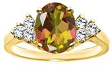Gem Stone King 2.48 Ct Oval Mango Mystic Topaz 18K Yellow Gold Ring