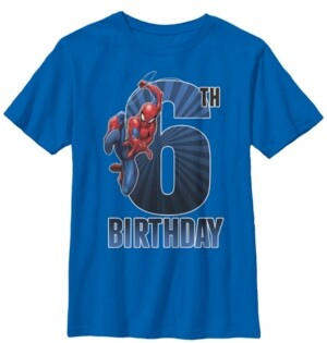 Fifth Sun Marvel Big Boy's Spider-Man Swinging 6Th Birthday Short Sleeve T-Shirt