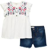 Jessica Simpson Textured Knit & Denim Short (Little Girls)