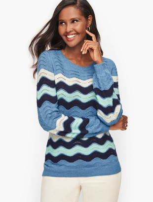 Talbots Supersoft Cotton Blend Crewneck Stripe Sweater