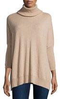 Josie Natori Cashmere Dolman-Sleeve Turtleneck Sweater, Sand