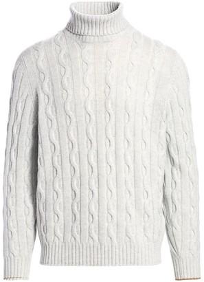Brunello Cucinelli Cable-Knit Cashmere Turtleneck Sweater