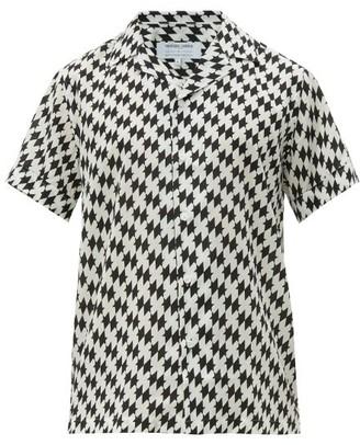 Frescobol Carioca Beijinhos Cuban-collar Short-sleeved Shirt - Black White